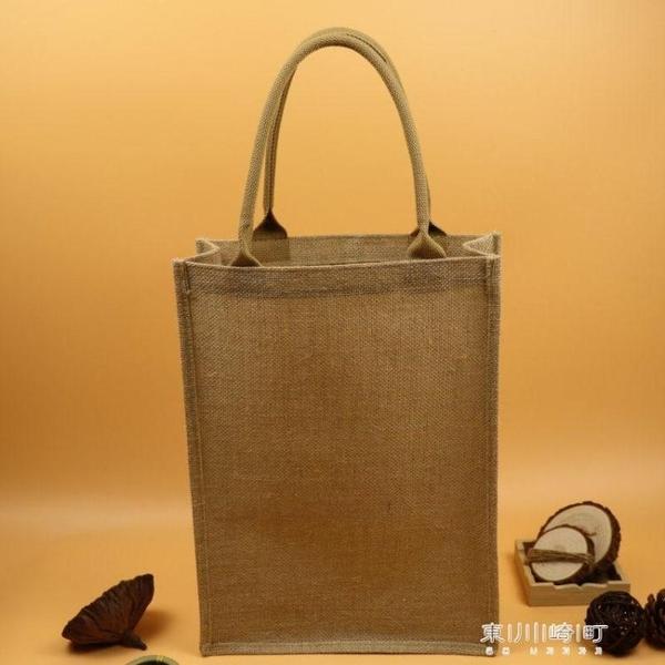 購物袋-麻布文藝手繪包簡約復古黃麻購物袋手工袋購物袋 現貨快出