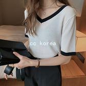 時尚拼色透氣冰丝V領針織衫 CC KOREA ~ Q23528