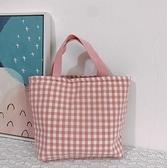 夏季日式小清新簡約格子保溫便當包棉布手提飯包學生午餐包媽咪包