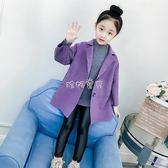 呢大衣兒童女 女童毛呢外套秋冬2018新款兒童中大童中長款韓版洋氣雙面呢子大衣 珍妮寶貝