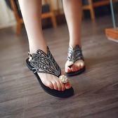 新款夏季涼鞋女鞋波西米亞風水鑽平底夾腳簡約時尚百搭沙灘鞋 美芭