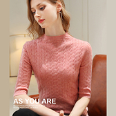 羊毛針織衫五分袖半高領內搭(五色S-3XL可選)/設計家 AL510111