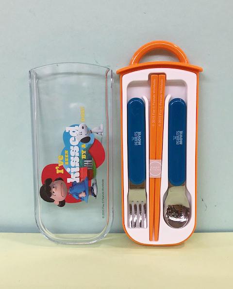 【震撼精品百貨】史奴比Peanuts Snoopy ~SNOOPY餐具組-橘藍#31426