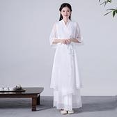 洋装 中大尺碼 春季款系帶漢服仙女棉麻真絲鄒雙層白色大擺連衣長裙 禪意茶服