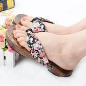 日系人字拖鞋女燒桐木屐平底夾角涼拖鞋防滑