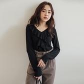 MIUSTAR 正韓-荷葉領造型彈力棉質上衣(共3色)【NJ2206RR】預購