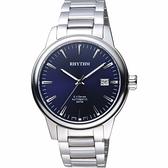 RHYTHM日本麗聲 S.V.Series機械日期手錶-藍x銀/45mm VA1518S03