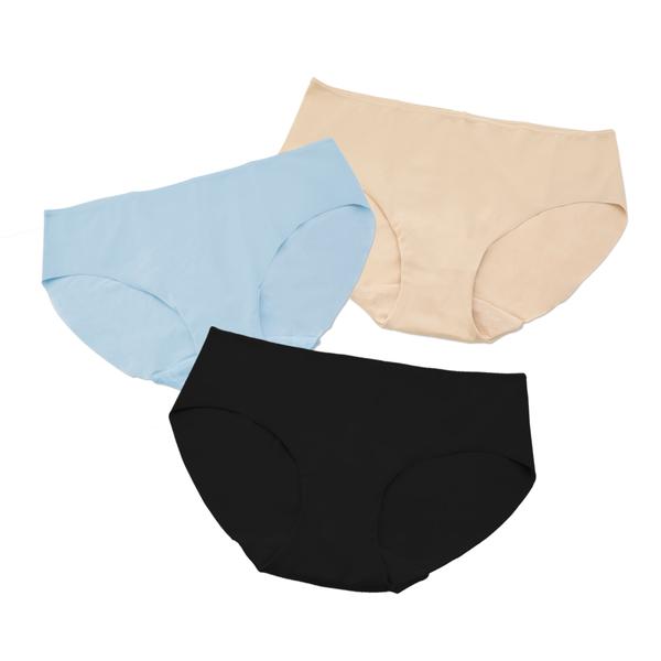 LeRêveParis  無痕舒適內褲三件組 -經典黑膚藍 特殊彈性織法,柔軟服貼、隱形不露褲痕