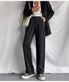 運動休閒褲女秋裝韓版潮寬松直筒垂感高腰休閑ins西裝拖地長褲女M028依佳衣