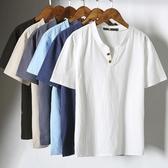 棉麻上衣 年夏季新款男士日系亞麻短袖薄T恤棉麻V領子汗衫男體恤上衣服