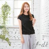【ef-de】激安 下襬綁帶素色上衣T-shirt(黑/白/駝)