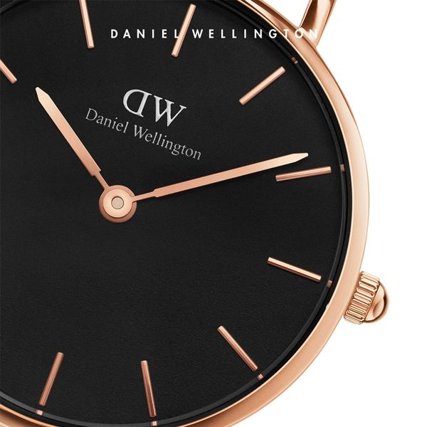 Daniel Wellington DW 手錶 28mm玫瑰金框 Classic Petite 爵士黑真皮皮革錶