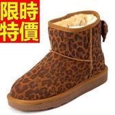短筒雪靴-豹紋甜美蝴蝶結牛皮女靴子5色62p19[巴黎精品]