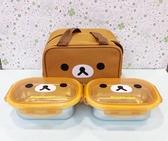 【震撼精品百貨】Rilakkuma San-X 拉拉熊懶懶熊~拉拉熊便當盒附袋-方形#46408