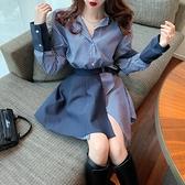 性感氣質港風藍色拼接條紋襯衫洋裝子女不規則設計感小眾顯瘦秋