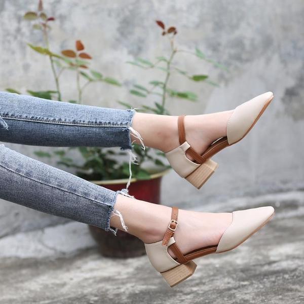 全館83折 2018春季新款方頭復古粗跟奶奶鞋中跟韓版瑪麗珍平底一字扣單鞋女