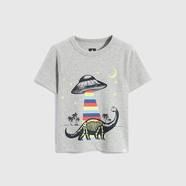 Gap男幼童 布萊納系列 純棉動物印花短袖T恤 697993-灰色