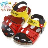 布布童鞋 Disney迪士尼米奇紅色經典造型腳背可調節式歐風兒童氣墊涼鞋(15~17公分) [ MHR807A ] 紅色款