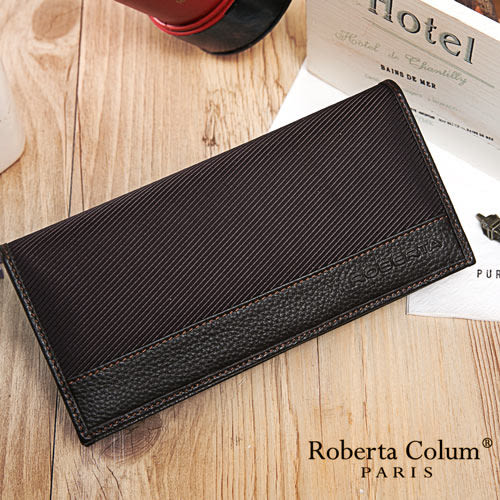 Roberta Colum - 雅痞時尚系牛皮款12卡1照兩折式長夾-咖色
