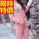 長袖運動服套裝(褲裝)-可愛連帽簡單精緻戶外女休閒服3色59w44【時尚巴黎】