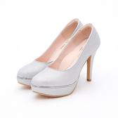 MICHELLE PARK 璀璨婚禮 耀眼金蔥防水台厚底高跟婚鞋-閃耀銀