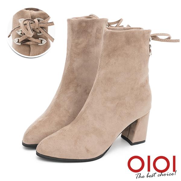 短靴 優雅美型後綁帶造型高跟短靴(卡其)*0101shoes【18-1032ca】【現貨】
