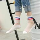 ►網紗學院風襪子 水晶短襪韓國薄款可愛玻...