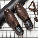 春夏透氣布男鞋雕花復古皮鞋男士英倫韓版商務休閒厚底鞋子潮