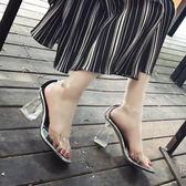 萬聖節狂歡   魚嘴涼鞋夏季新款性感鏤空帶露趾透明歐美粗跟水晶高跟鞋女鞋【居享優品】