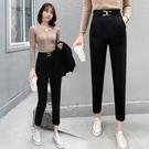 西褲 9865#褲子女2021春夏新款顯瘦直筒休閒女褲蘿卜哈倫褲職業西褲 17原本