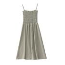 洋裝吊帶裙 簡約風 褶皺 顯瘦顯高 綠/粉/杏/黑 均碼Mandyc