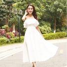 白色露肩雪紡連衣裙女2018新款韓版壹字領修身顯瘦度假沙灘裙子 潮流小鋪