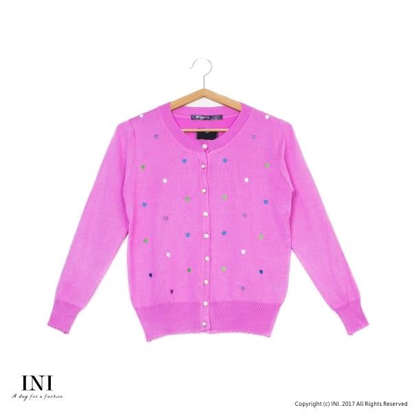 【INI】四季百搭、繽紛小刺繡愛心針織小外套.桃紅色