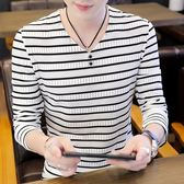 長袖T恤男2019新款韓版修身V領薄款打底衫男裝夏季潮流透氣上衣服
