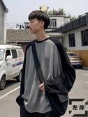 長袖T恤男撞色簡約寬松潮流打底衣服秋季衛衣【左岸男裝】