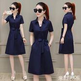 洋裝 短袖連身裙女裝正韓時尚氣質夏季流行夏天裙子中長款