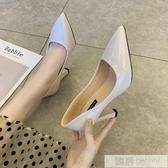 高跟鞋女細跟氣質2020年新款秋季設計感小眾名媛百搭法式尖頭單鞋  韓慕精品