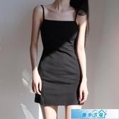 洋裝 黑色基礎款吊帶裙復古純色平口收腰高腰顯瘦性感側開衩吊帶連身裙 漫步雲端