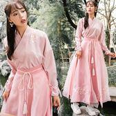 原創設計漢元素改良漢服套裝交領襦裙少女系粉色裙子秋冬新款