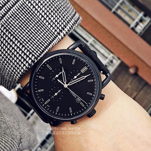 FOSSIL美國品牌COMMUTER城市型男三環計時潮流腕錶FS5504原廠公司貨