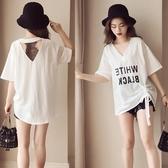 限定款大尺碼女裝(S-5L)新品免運寬鬆蕾絲拼接中長款上衣女夏短袖露背T恤衫