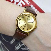 CASIO手錶 小金面淺咖皮革錶NEC145