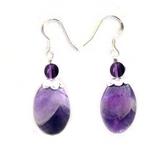 紫晶橢圓純銀耳環