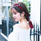 聖誕節狂歡 韓國新款簡約蝴蝶結發箍頭箍純色復古飄帶發飾長發帶 東京衣櫃