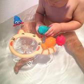 寶寶洗澡玩具玩水戲水撈魚玩具動物套裝男女孩嬰兒軟膠漂浮捏捏叫梗豆物語