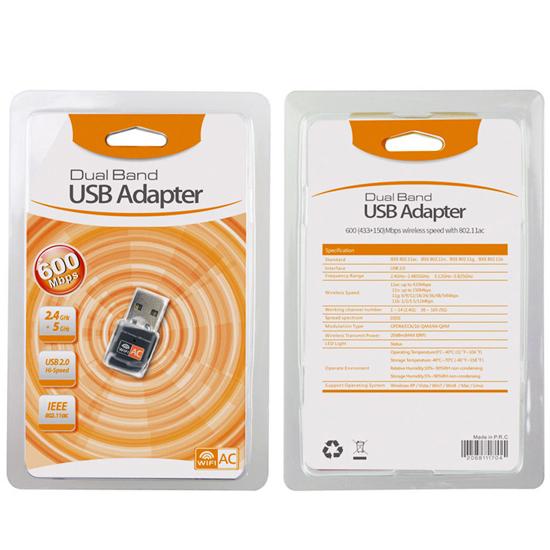[哈GAME族]滿399免運費●極速傳輸●橘標 AC 600M 無線雙頻 USB網卡 2.4G + 5G wifi接收器 802.11AC