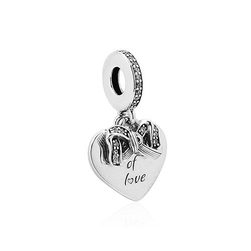 Pandora 潘朵拉 愛意之心蝴蝶結 垂墜純銀墜飾 799221C01