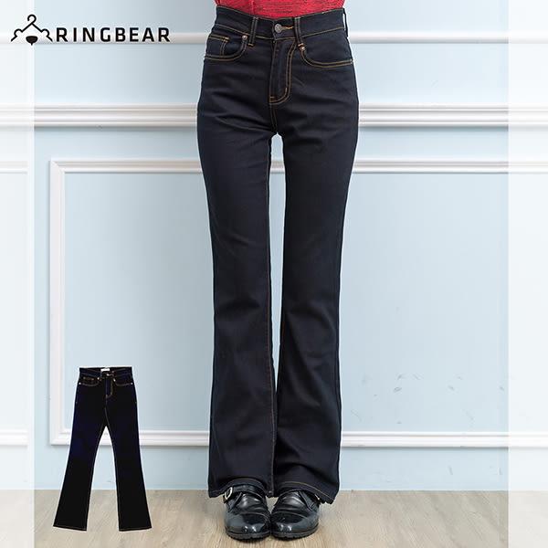 顯瘦--再創窈窕細身曲線-復古黑藍色瘦排骨中腰合身小喇叭牛仔褲(黑S-7L)-N88眼圈熊中大尺碼