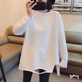 長袖t恤女2021春秋裝新款中長款寬鬆百搭純棉破洞白色打底衫上衣T 【七七小鋪】