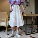半身裙日系學院風木耳邊高腰百搭女學生韓版休閒顯瘦仙女A字裙INS